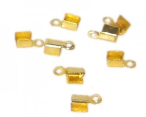 8mm Gold-Coated Crimp Terminator with Loop - approx. 50