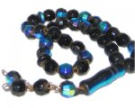 "8mm Black Round AB Finish Fire Polish Bead, 12"" string"