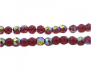 "5mm Red Round AB Finish Fire Polish Bead, 2 x 13"" string"