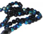 "6mm Black Round AB Finish Fire Polish Bead, 24"" string"