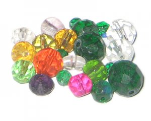 Approx. 1oz. x Random Color Round Faceted Crystal Bead