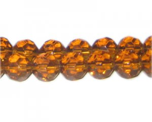 "12mm Honey Brown Faceted Round Glass Bead, 13"" string"