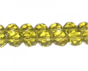 "12mm Light Gold Faceted Round Glass Bead, 13"" string"