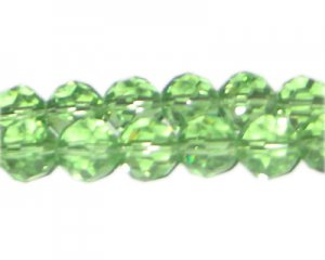 "12mm Pale Green Faceted Round Glass Bead, 13"" string"