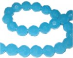 "12mm Turquoise Faceted Round Semi-Opaque Glass Bead, 13"" string"