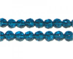"8mm Deep Aqua Faceted Round Glass Bead, 13"" string"