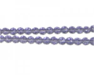 "6mm Soft Purple Faceted Round Glass Bead, 13"" string"