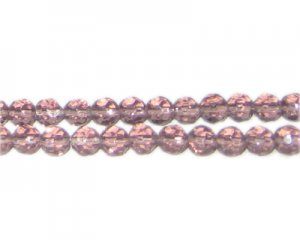 "6mm Pale Mauve Faceted Round Glass Bead, 13"" string"