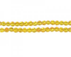 "4mm Yellow Gold Faceted Round Glass Bead, 12"" string"