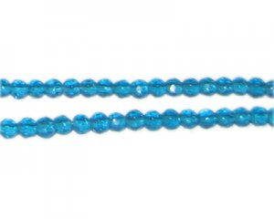 "4mm Deep Turquoise Faceted Round Glass Bead, 12"" string"