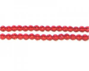 "4mm Strawberry Red Faceted Round Glass Bead, 12"" string"
