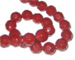 "12mm Deep Red Faceted Round Glass Bead, 13"" string"