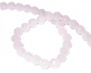 "6mm Pink Faceted Round Semi-Opaque Glass Bead, 13"" string"