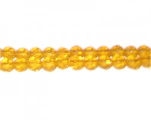"6mm Orange Gold Faceted Round Glass Bead, 13"" string"