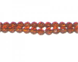"6mm Golden Brown Faceted Round Glass Bead, 24"" string"