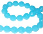 "12mm Light Turquoise Faceted Round Semi-Opaque Bead, 13"" string"