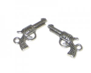 22 x 14mm Silver Gun Metal Charm, 4 charms