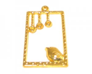 18 x 30mm Gold Bird Rectangle Pendant -3, fits 2mm rhinestone
