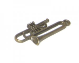 14 x 34mm Bronze Trumpet Pendant - 2 pendants