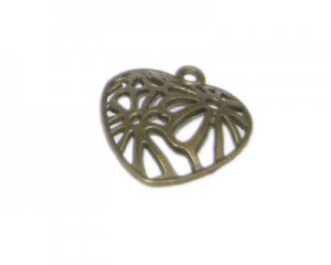 20mm Bronze Filigree Heart Pendant - 4, fits 2mm rhinestone