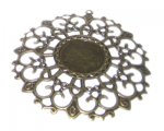 58mm Bronze Ornate Round Pendant, fits 18mm cabochon