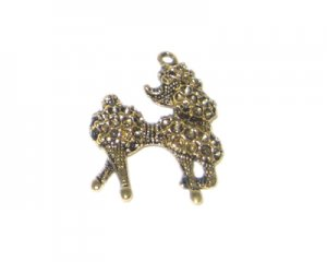22 x 34mm Antique Gold Poodle Pendant, fits 2mm rhinestone