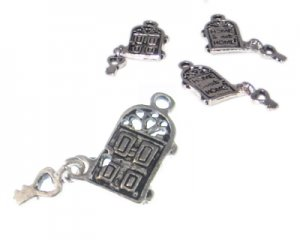 18 x 10mm Silver Home Sweet Home Door with Key Metal Charm, 3 ch