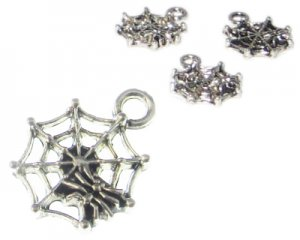 16 x 14mm Silver Spiderweb Metal Charm, 3 charms