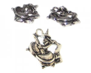 20 x 16mm Silver Witch with Cauldron Metal Charm, 2 charms