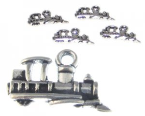 16 x 12mm Silver Train Metal Charm, 4 charms