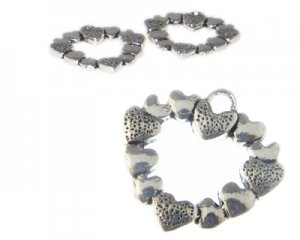26mm Silver Heart made of Hearts Metal Charm, 2 charms