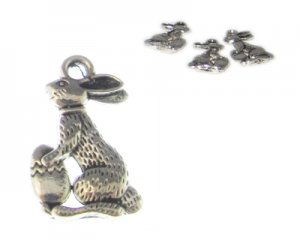 18 x 12mm Silver Easter Bunny with Egg Metal Charm, 3 charms