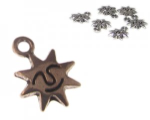 14 x 10mm Silver Smiling Sun Metal Charm, 6 charms