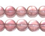 "12mm Mauve Transparent Round Pressed Glass Bead, 8"" string"
