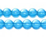"10mm Turquoise Transparent Round Pressed Glass Bead, 8"" string"