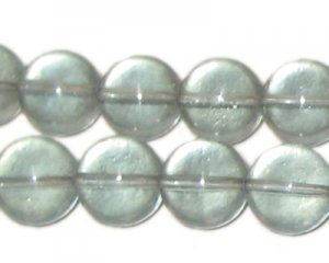 "12mm Gray Transparent Round Pressed Glass Bead, 8"" string"