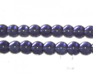 8mm Purple Round Pressed Glass Bead