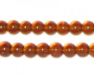 8mm Golden Brown Round Pressed Glass Bead