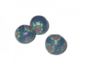 14mm Dark Blue Floral Polymer Clay Bead, 10 beads