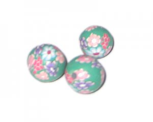 14mm Green Floral Polymer Clay Bead, 10 beads