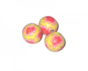14mm Soft Yellow Floral Polymer Clay Bead, 10 beads