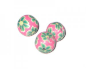 14mm Pink Floral Polymer Clay Bead, 10 beads