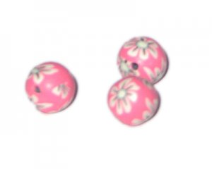 14mm Bubblegum Floral Polymer Clay Bead, 10 beads