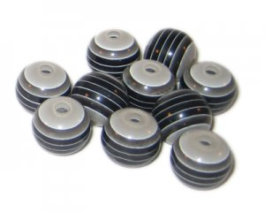 12mm Black Striped Polyresin Bead, approx. 24 beads
