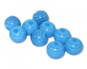 12mm Dark Turquoise Striped Polyresin Bead, approx. 24 beads