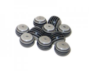 8mm Black Striped Polyresin Bead, approx. 42 beads