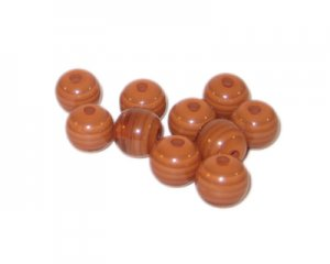 8mm Brown Striped Polyresin Bead, approx. 42 beads