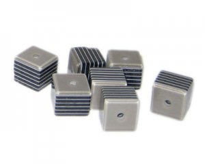 10mm Black Striped Polyresin Cube Bead, approx. 35 beads