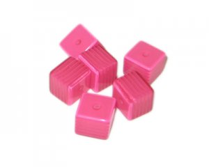8mm Dark Fuchsia Striped Polyresin Cube Bead, approx. 43 beads