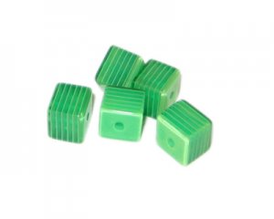 8mm Green Striped Polyresin Cube Bead, approx. 43 beads